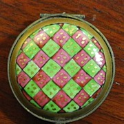 SALE Limoges, late 1800's, Red & Green Diamond Pattern Hand Painted Pill Box