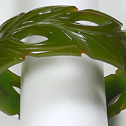 SALE Deeply Carved Green Leaf Openwork Bakelite Bangle Bracelet