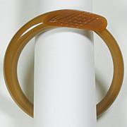 Carved Khaki Freeform Bakelite Bangle Bracelet