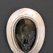 Sterling and Obsidian Los Ballesteros Mask Pin Pendant