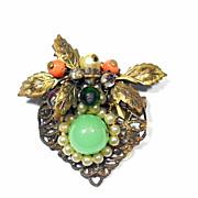 Art Nouveau Multi-Gem Pin
