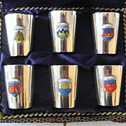 Sterling Silver and France City Crests Enameled Shot/Cordial Glasses, Made in Germany