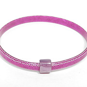 Magenta and White Slim Bangle Bracelet, by Lea Stein, Paris