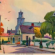 "Richard Clarke Hare print by Morris & Bendien, ""A Street in Old Provincetown"", c. 1935"