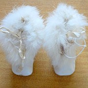 SALE Vintage Leather & Fur Baby/Doll Booties