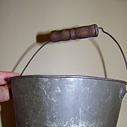 REDUCED Early Tin Sand Pail with Wooden Handle