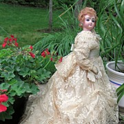 REDUCED AMAZING Mystery Antique French Fashion Doll with STUNNING Ballgown & Kid leather glove