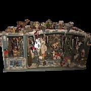 "DELUXE Antique Christmas Doll Shop & Music Box  21"" Original Candlesticks!  Layaway!"