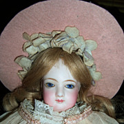 "14"" Jumeau French Fashion Antique Doll - Lovely Organdy Dress! Layaway!"
