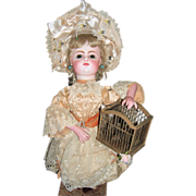 AMAZING Rare Leopold Lambert Automaton - FG Block Head Antique Doll - Fluttering Bird in Cage Layaway