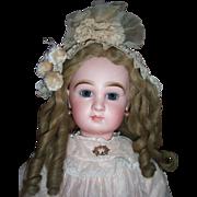 """25"""" Transitional DEPOSE Tete Jumeau Antique Doll - Fabulous Pale Pink Antique Silk Dress"""