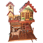 """Rare 21"""" Wooden Stable Doll House  Circa 1890's"""
