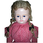 "21"" German Wax Antique Doll W/Sleep Eyes Circa 1875"