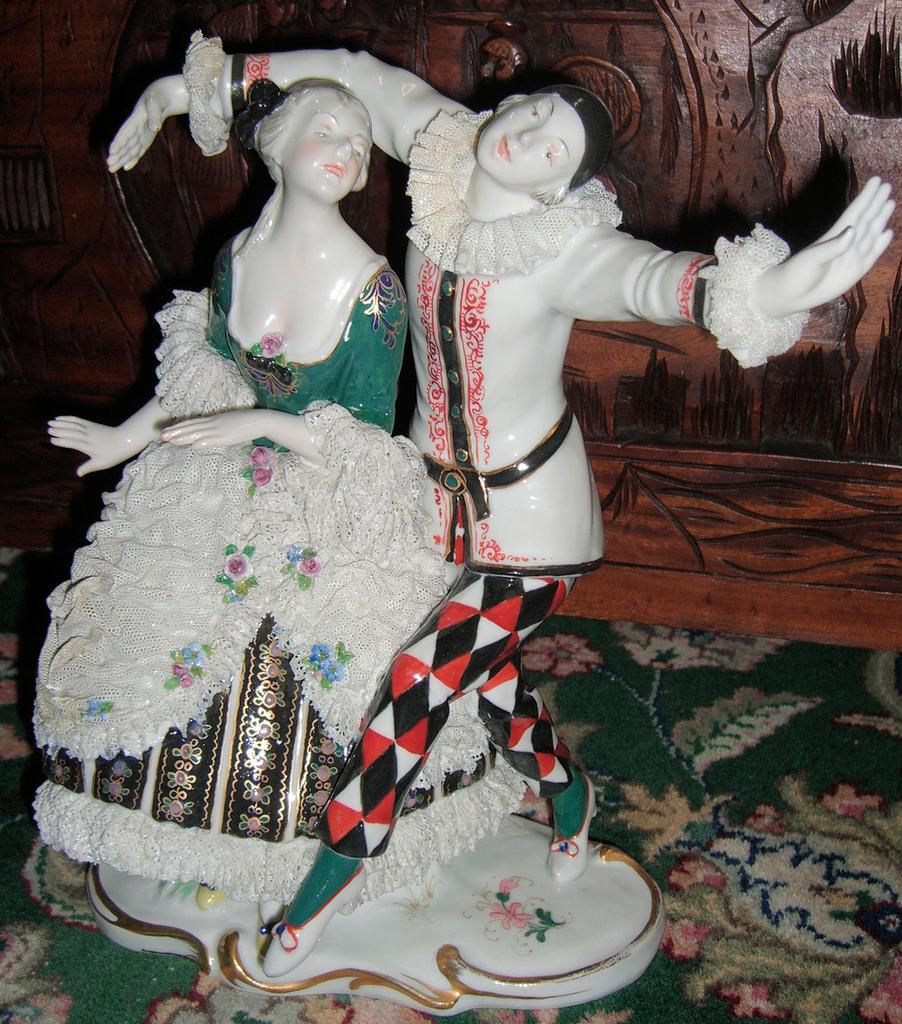 Very RARE & large Antique Karl Ens Lace Figurine w Jester