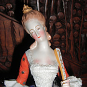 "Amazing & Rare 10"" Dresden Lace Figurine"
