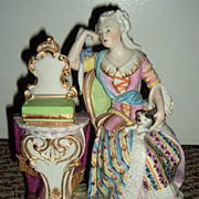 REDUCED Antique Figurine Woman & Dog - Late 1800's!