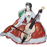 Charming Dresden Figurine Volkstedt Woman Playing Cello