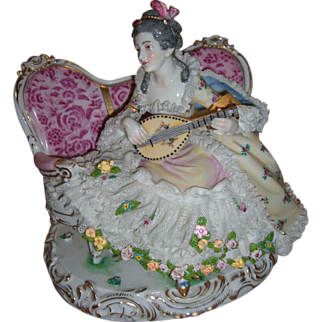 Antique Dresden Lace Figurine - Dressel, Kister & Co Volkstedt