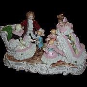 Large Dresden Lace Figurine - Layaway - Visiting Grandma