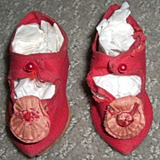 "SALE 2 3/4"" Antique Red Silk Doll Shoes with Rosettes"