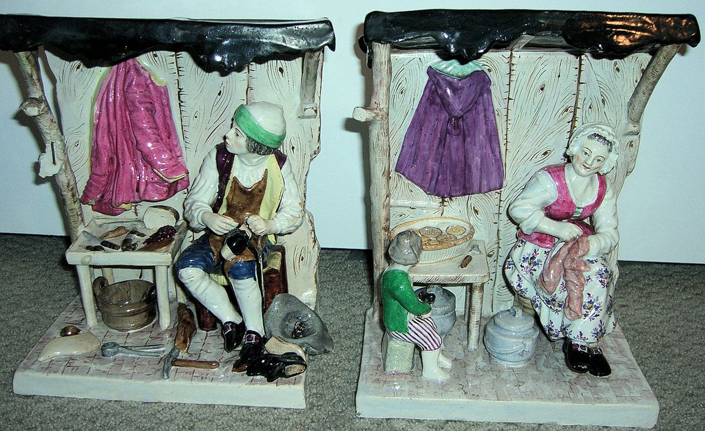 Large Pair of Antique Figurines - Shoemakers Shop!