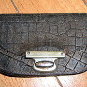 Antique Brown Leather Purse for Doll - compartments!