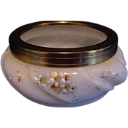 SALE Wonderful Wavecrest Opal Glass Pin Box or Dresser Jar ~ Shell Design ~ Hand Painted with