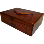 SALE Inlaid Tea  / Cigar Box ~ Wide Awake Tea Co / Fac No. 35 1st dist of PA ~ Early 1900's
