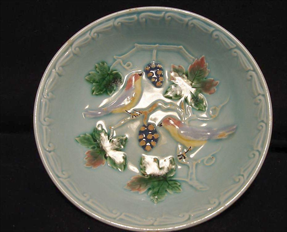 "Hard to Find German Majolica 5"" Turquoise Berry Bowl   with Birds and Berries 1900's"
