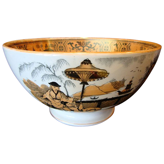 """Large 8 1/4"""" W Holland Rice Bowl with Asian Theme ~ PaJong Pattern ~ Petrus Regouta Co Maastricht Holland 1929-1935"""