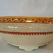 SALE Beautiful Serving Bowl / Tureen ~ Polychrome Peach and Taupe Designs ~ Wisconsin Pattern