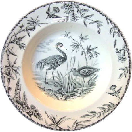 Great Aesthetic Black Transfer Earthenware Bowl ~ Indus Pattern with Asian Pheasants & FLora ~ attributed to Ridgways Staffordshire England 1877