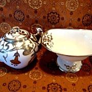 Exquisite Porcelain Creamer & Sugar Compote Set~ Sterling Silver Overlay Trumpet  Floral Design