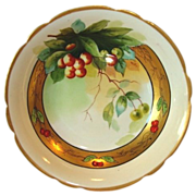 Awesome Limoges Porcelain Bowl ~ Decorate with Rainier Cherries by Pickard Artist J. Heinz ~ Mavaleix Limoges France / Pickard Studio Chicago France 1895-1905