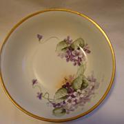 SALE Wonderful German Porcelain Bowl ~ Hand painted with Purple Violets ~ Krister Porcelain Fa