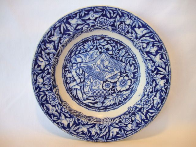 Beautiful English Bowl ~ Blue and White Birds and Scrolls ~ George Jones & Sons England 1874-1924