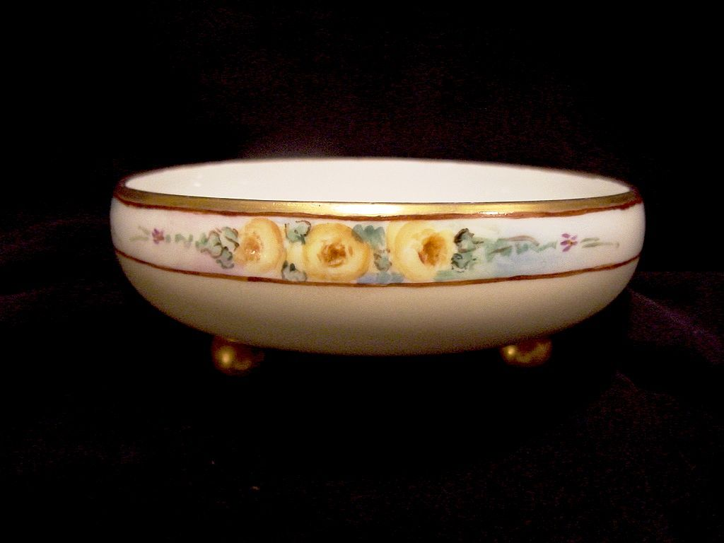 Adorable Limoges Porcelain Three Footed Bon Bon / Candy Dish ~ Hand Painted with Yellow Roses ~ Tressemann & Vogt 1892-1907