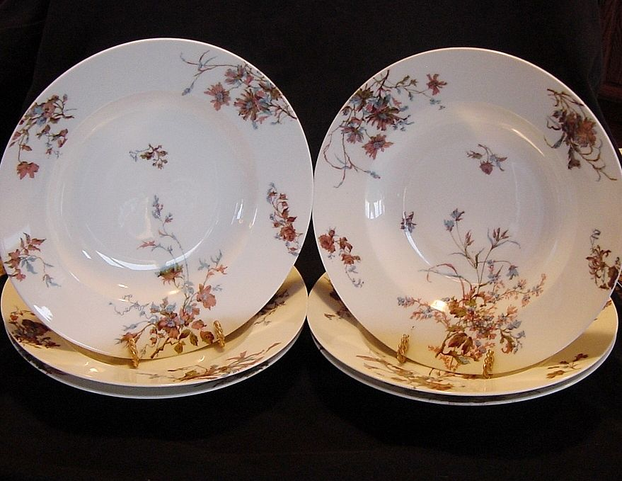Set of (6) ~ Wonderful Old Limoges Soup Bowls ~ Decorated with Rust and Blue Flowers ~ Haviland & CO France 1879-1888