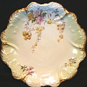 Nice Limoges Porcelain Cabinet Plate ~ Studio Decorated with Yellow & Pink Roses ~ Coiffe / Klingenberg Dwenger 1891-1940