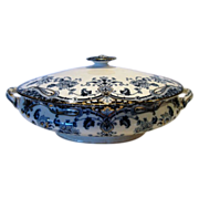 SALE Awesome Semi-Porcelain English Covered Serving Dish ~ Dark Blue & White Floral, Scrolls~