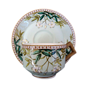 SALE Awesome English Cup and Saucer Set ~ Decorated with White Flowers and Teal Leaves ...
