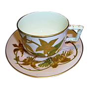 SALE Attractive 124 Yr Old English Porcelain Cup & Saucer ~ Gold Embossed Bamboo Leaves on Pin