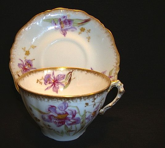 Gorgeous Limoges Porcelain Cup and Saucer ~ Hand Painted with Purple Japanese Iris or Orchids ~ George Borgfeldt Coronet / A. Lanternier Limoges France 1891-1920