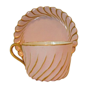 Delicate Limoges Porcelain Cup and Saucer ~ Hand Painted Pink & Gold ~Torse or Cannele Mold #143 ~ Haviland & Co Limoges France 1888-1896