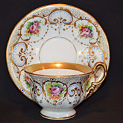 SALE Gorgeous Cup and Saucer ~ Hand Painted Gold and Floral Transfers ~German Porcelain ~  C.