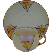 SALE Wonderful Limoges Porcelain Cup and Saucer with Hand Painted Yellow Daffodils – J& C Ba