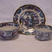 """SALE Nice English Polychrome Chinoiserie 2 Cups & 1 Free Saucer ~  """"Chinese Ching"""" Pattern"""