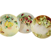 SALE 3 Wonderful Limoges Porcelain Cabinet Plates Hand Painted with Crab Apples, & Cherries ~