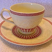 SALE Great English Demitasse Cup and Saucer ~ Red Transfer~ George Jones and Sons England ...