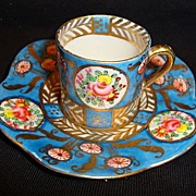 SALE Great Miniature Porcelain Cup and Saucer ~ Hand Painted with Flowers and Gold ~ ...